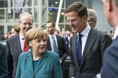 HANOVER, GERMANY - APRIL 7: German Chancellor Angela Merkel and Dutch Prime Minister Mark Rutte arri