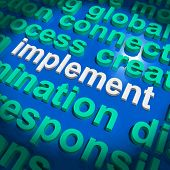Implement Word Cloud Shows Implementing Or Execute A Plan