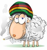 stock photo of reggae  - crazy jamaican sheep cartoon on white  background - JPG