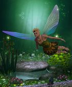 stock photo of fairyland  - A winged fairy flies over a magical forest pond on iridescent wings - JPG