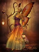 image of lilith  - A fairy named Lilith carries a lantern making her way through the magical forest - JPG