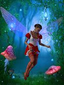 stock photo of fairyland  - A flying fairy tries to capture a glow fly in the magical forest - JPG