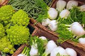 stock photo of romanesco  - Romanesco broccoli and fennel for sale at a market - JPG