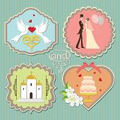 foto of wedding feast  - A set of labels with the wedding items for wedding invitations template in retro style - JPG