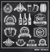 stock photo of drawing beer  - Beer icon chalkboard set  - JPG