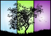 picture of triptych  - Black silhouette tree in a triptych with background of green - JPG