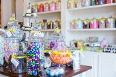 stock photo of easter candy  - Jars filled with different candies at the boutique candy store.