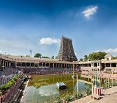 stock photo of tamil  - Sri Menakshi Temple water tank - JPG