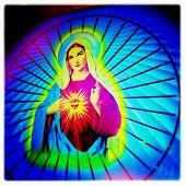 image of mary  - Instagram style image of a neon Virgin Mary - JPG