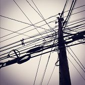 stock photo of utility pole  - Instagram style images of utility pole and power lines - JPG