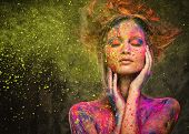 image of diva  - Young woman muse with creative body art and hairdo  - JPG