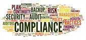 stock photo of financial audit  - Compliance and audit in word tag cloud on white - JPG