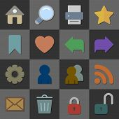 Collection of internet icons, color flat design