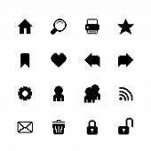 Black pixel icons set for navigation