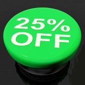 Twenty Five Percent Button Shows Sale Discount Or 25 Off