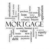 stock photo of amortization  - Mortgage Word Cloud Concept in black and white with great terms such as loan home banker and more - JPG