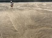 pic of geoglyph  - Nazca Lines Hands as viewed from a plane Nazca Peru. Viewing tower at ground level visible for perspective.