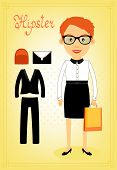 Hipster character elements for business woman