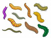 stock photo of worm  - Cartoon worms and other insects - JPG