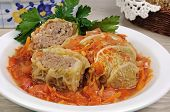 Stuffed Savoy Cabbage On A Plate