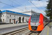 SOCHI, RUSSIA - FEBRUARY 14, 2014: Lastochka high-speed train on the railway station of Sochi. Russi