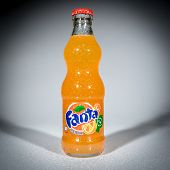 MOSCOW, RUSSIA-APRIL 4, 2014: Bottle of Coca Cola company soft drink Fanta Orange. Fanta is a global