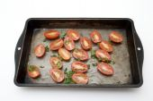 Isolated Baking Tray Of Tomatoes