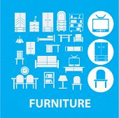stock photo of bunk-bed  - furniture icons set - JPG