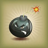 picture of bomb  - Illustration of a cartoon angry black bomb icon character about to explode with burning wick on vintage retro background - JPG