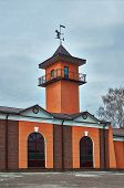 picture of fire-station  - Fire Station with Tower and weather vane - JPG