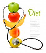 picture of light weight  - Fruit with a stethoscope - JPG