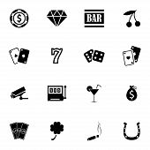 stock photo of poker machine  - Vector black casino icons set on white background - JPG