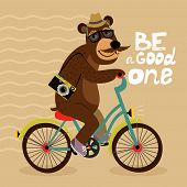 stock photo of bear tracks  - Hipster poster with geek bear riding bicycle vector illustration - JPG