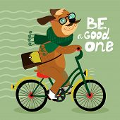 picture of dog tracks  - Hipster poster with nerd dog riding bike vector illustration - JPG