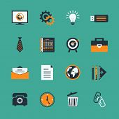 picture of staples  - Business office stationery icons set of creative lightbulb phone and target isolated vector illustration - JPG
