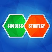 Success And Strategy In Hexagons, Flat Design