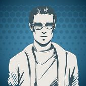 picture of pullovers  - Stylish young guy portrait wearing glasses and pullover - JPG