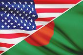 Series Of Ruffled Flags. Usa And Bangladesh.