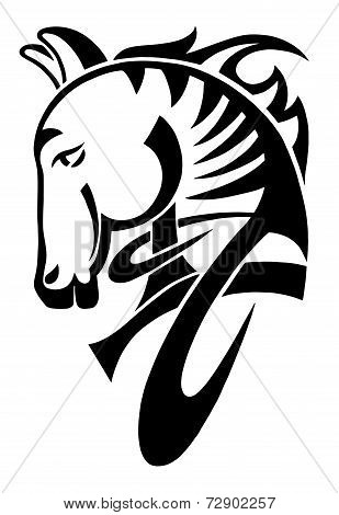digital drawing of black tribal head horse silhouette isolated o