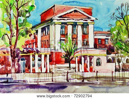 original watercolor painting of kiev building, ukraine