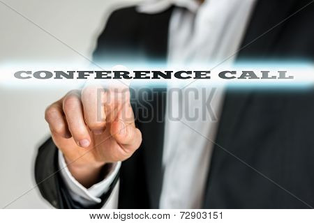 Businessman Pointing Glowing Conference Call Texts