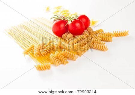 Mixed Italian Pasta In White Background