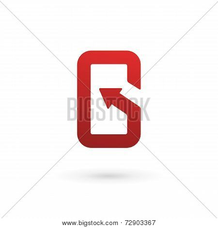Letter G arrow mobile phone app logo icon design template. Vector color sign.