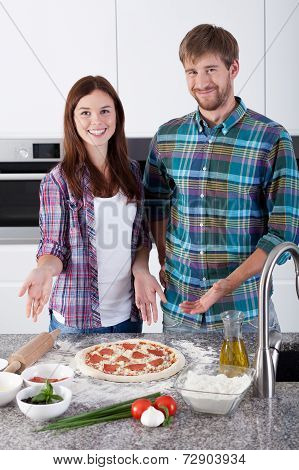 Couple Made Delicious Pizza At Home