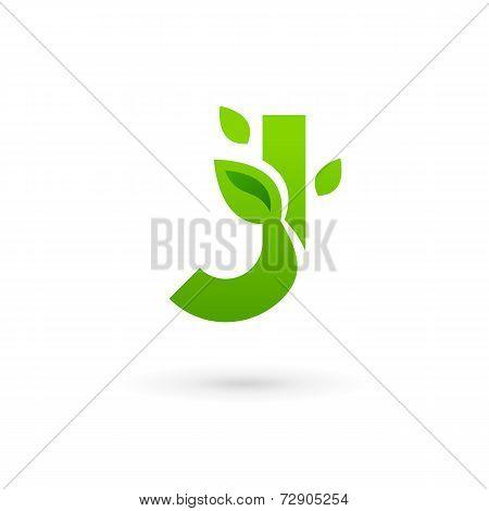 Letter J eco leaves logo icon design template elements. Vector color sign.