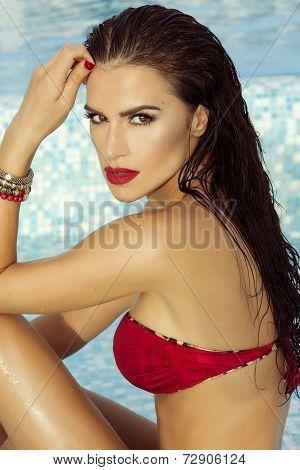 Sensual Brunette Woman In Water