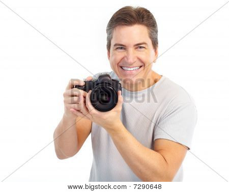 Handsome Man With Photo Camera
