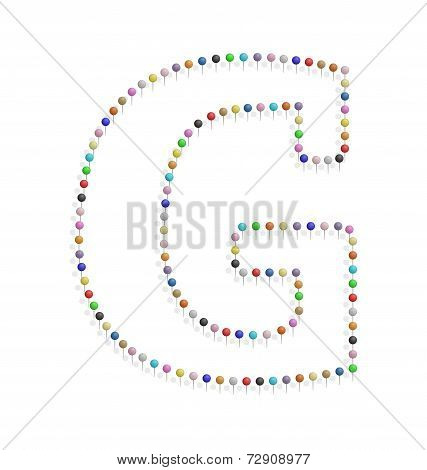 Letter G With Pushpin
