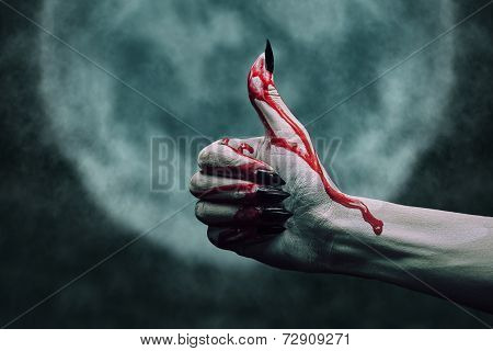 Vampire Bloody Hand With Thumb Up Gesture