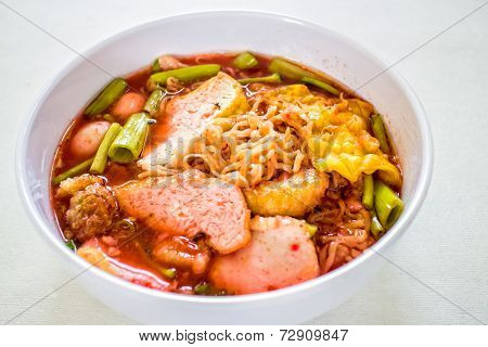 Thai Noodle In White Plate